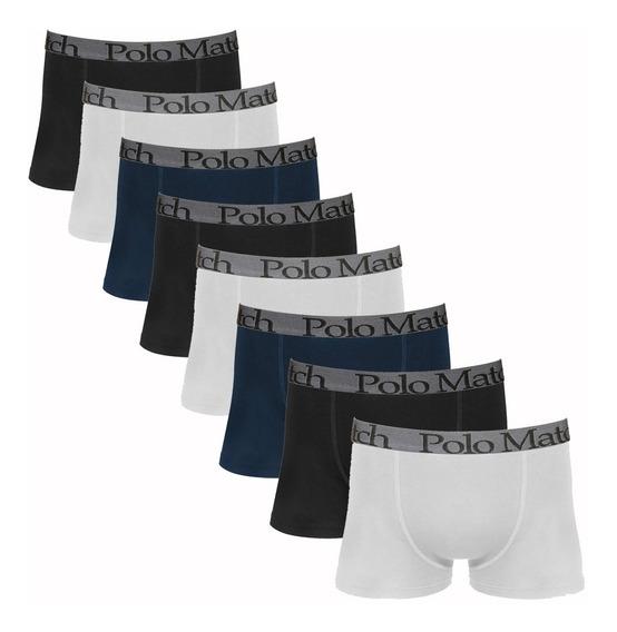 Kit Com 8 Cuecas Boxer De Cotton - Polo Match