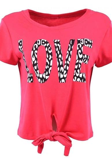 Blusa Feminina Cropped Amarrar Rosa Love Malha Promoção