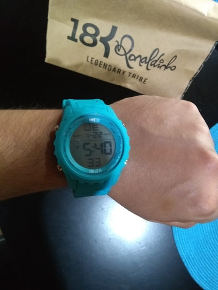 Relógio 18k Ronaldinho Original - Azul Ibiza