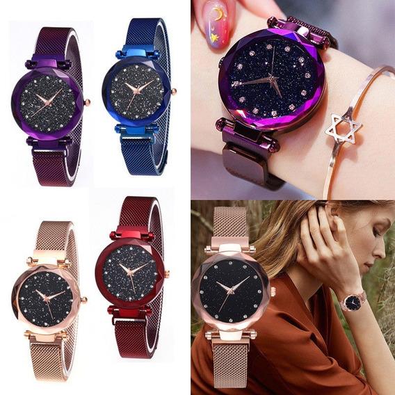 Kit 2 Relógios Femininos Céu Estrelado Pulseira Magnética