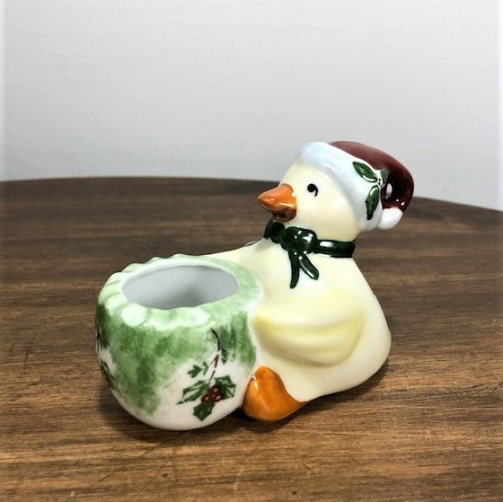 Paliteiro De Porcelana Mini Patinho Natal