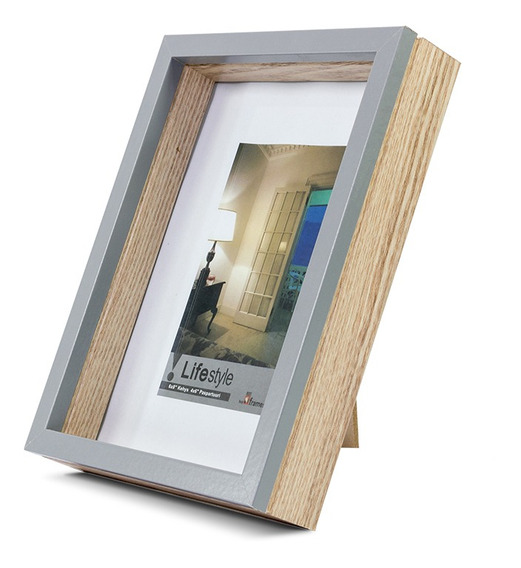 Portarretrato Box Madera 15x20cm Gris - 18 Cuotas S/int