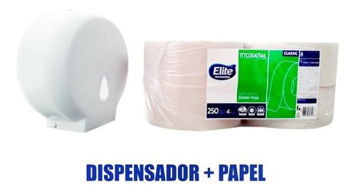 Dispensador + Papel Higiénico Institucional 4 Rollos X 250m.