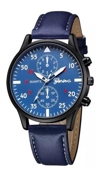 Relógio Masculino Geneva Com Caixa Original Azul Marinho