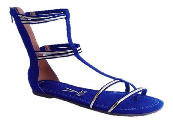 Sandália Rasteira Feminina Gladiadora Vizzano Azul 6235