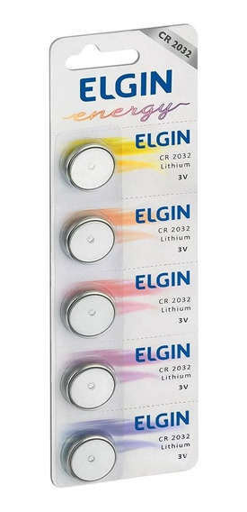 Kit 5 Baterias Cr2032 3v Lithium Elgin Moeda Cartela