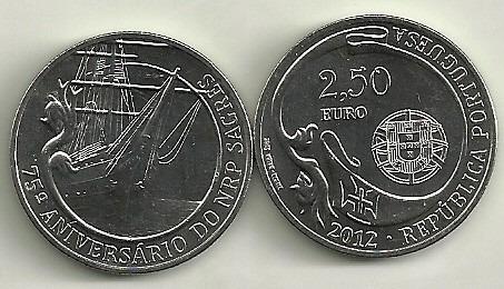 Moneda Portugal 2,5 Euro Año 2012 Barco 75 Aniv. Sagres