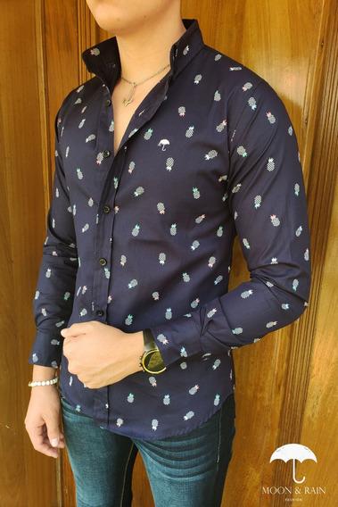 Camisa Slim Fit Marino Mini Piñas Moon & Rain Tiendas Platin