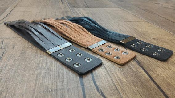 Bracelete Couro Legítimo - 4cm - Preto, Marrom Ou Natural