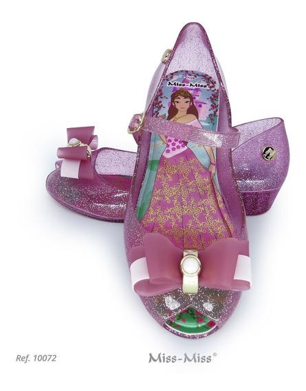 Anabela Infantil Lacinho Miss Miss Rosa Gliter