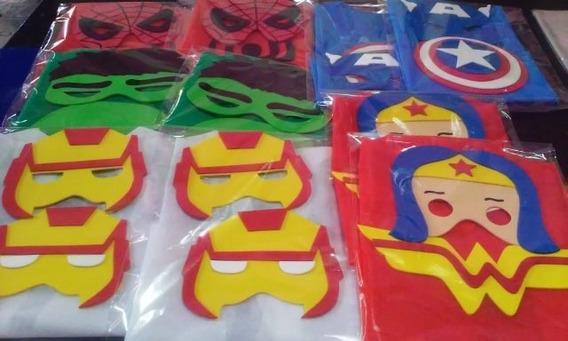 Capas + Antifaz Superheroes Souvenirs Cumpleaños