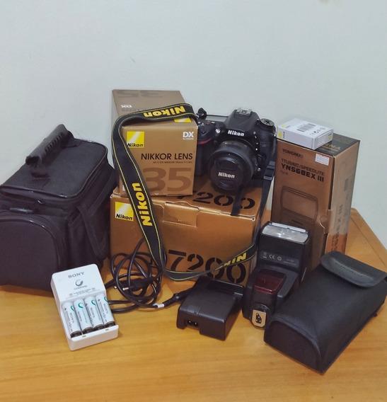 Kit: Nikon D7200 + Lente Nikkor 35mm F/1.8g + Flash Yongnuo