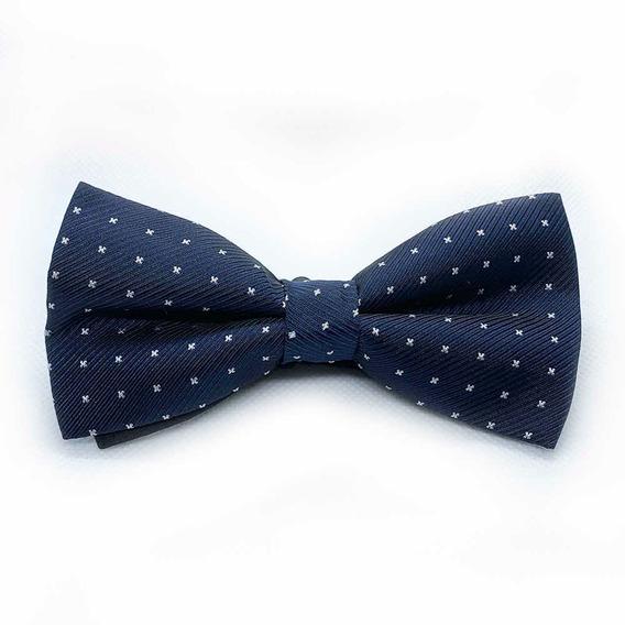 Moño Pajarita Corbata Azul Marino Taches Blancos Para Hombre