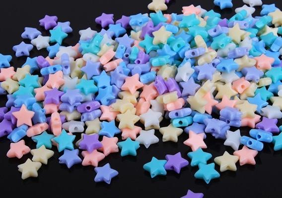 300 Miçangas De Estrelas Estrelinhas Infantil Cor Pastel