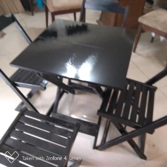 Conjunto De Mesas 60x60 Com 4 Cadeiras