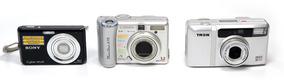 Lote C/ 3 Câmeras Dsc-w180 Powershot A75 Tron Z60s - Defeito