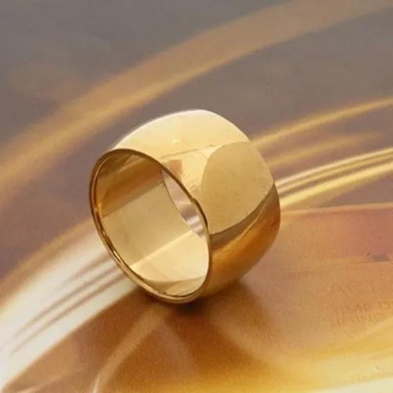 Par Aliança Aço Inox 12mm Banhado Ouro 18k Casamento Noivado