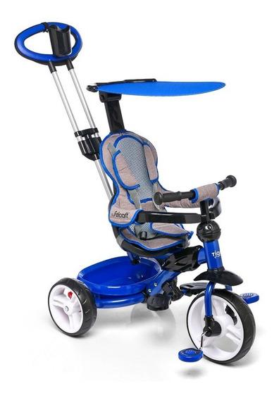 Triciclo Infantil Bebe Con Manija Y Capota Frenos Y Respaldo