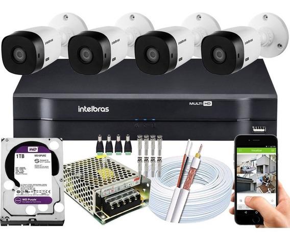 Kit 4 Câmeras Multhd Intelbras 1104 Wd Purple 1tb Vhl 1120