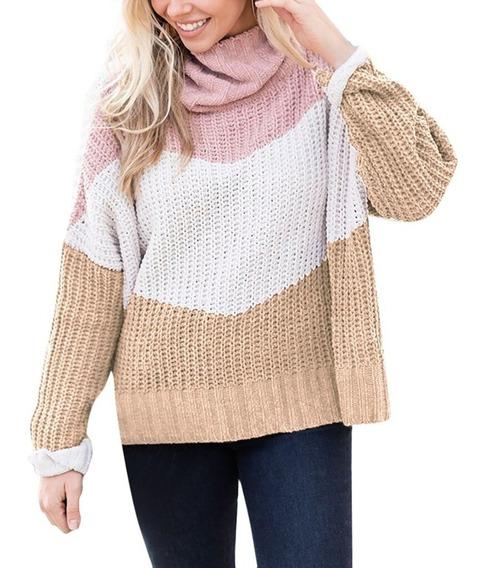 :::suéter Tejido A Punto Suelto Manga Larga Para Mujer:::