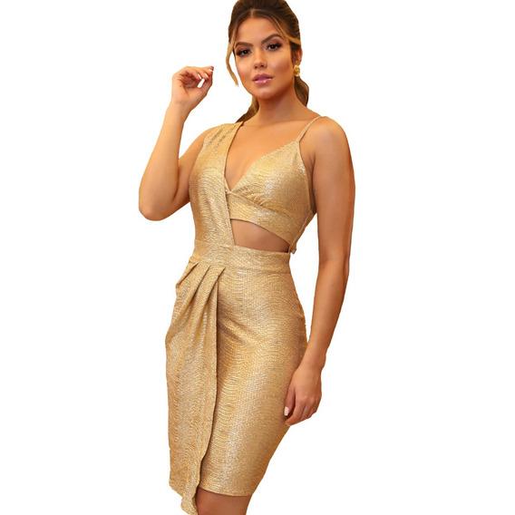 Vestido Transpassado Dourado Com Recorte Lateral   Taina