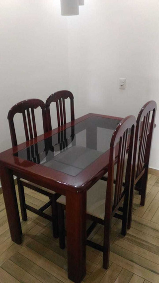 Mesa De Jantar Com 4 Cadeiras 140cm X 80cm( Apenas Retirada)