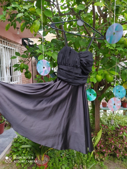 Vestido Raso. Fiesta. Talle 1. Color Negro