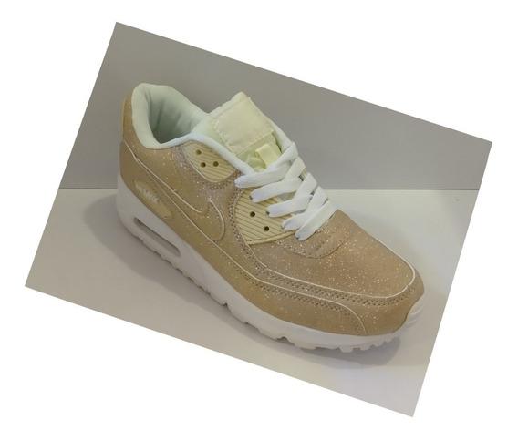 Zpt Nike Air Max 90. Tallas 36-40. Color Dorado Escarchado.