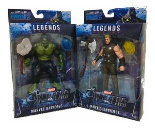 Avengers Juguetes Figuras Thor Hulk + Armas + Luz