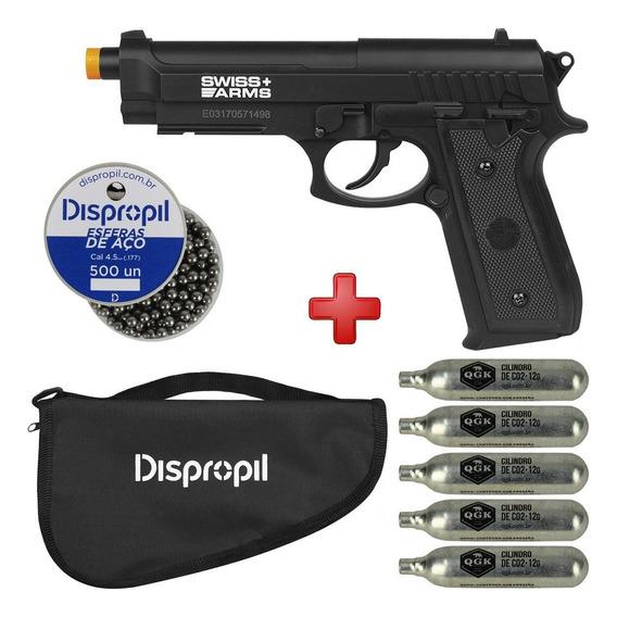 Pistola Pressão Co2 Swiss Arms P92 4.5 + Esferas Aço + Capa