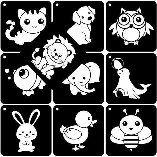 160 im/ágenes Tarjetas Flash en blanco y negro Tarjetas Flash de alto contraste para beb/és reci/én nacidos Tarjeta de actividades de aprendizaje de estimulaci/ón visual colorida para ni/ños,80 piezas