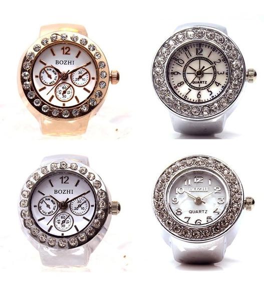 Kit Com 4 Relógios De Dedo Anel Todo Em Strass Feminino