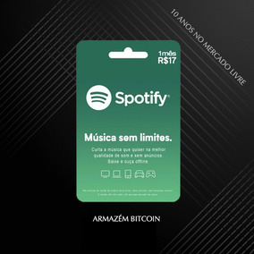 Cartão Pré-pago Spotify 1 Mês R$17,00 - Envio Imediato