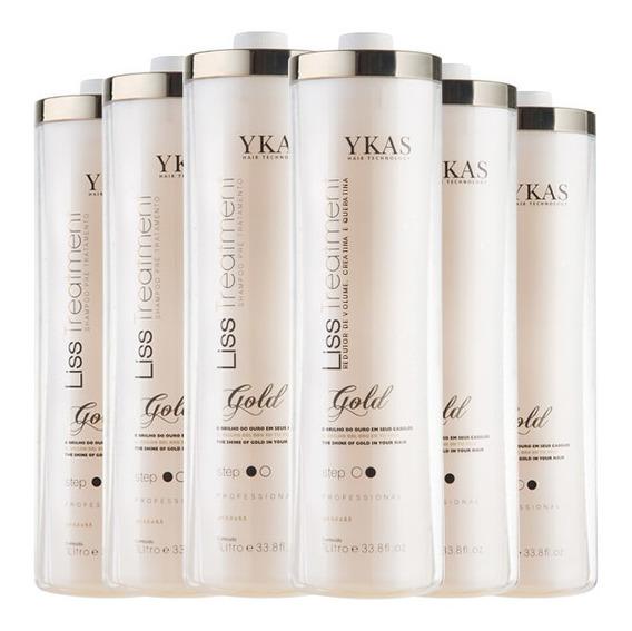 Ykas Escova Progressiva Kit Ouro 3 Kits De (2 X 1 Litro)