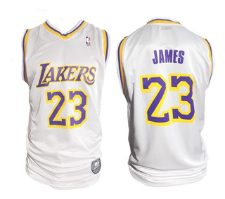 Camiseta Para Niños Oficial Nba Lakers 23 Lebron James Blanc