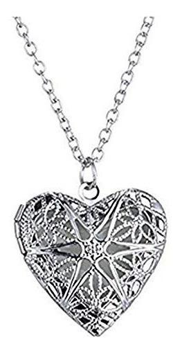 2x1 Collar Con Corazón Portaretrato Camafeo Silver Plateado