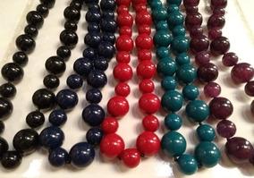 Colar Colorido Bolas Acrilico Etnico Cor Vermelho