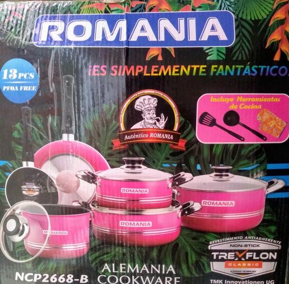Juego De Ollas Romania Bateria 6u. Teflon Colores Vs.