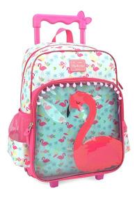 Kit Mochila De Rodinha Feminina Flamingo Up4you Ic33102