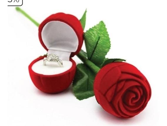 Porta Jóias Botão De Rosa Vermelho. Alianças, Anel , Brinco