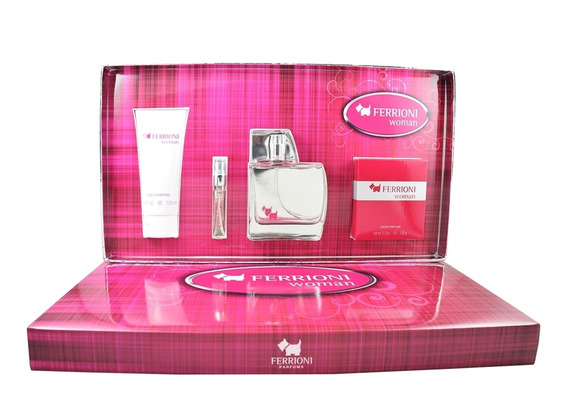 Set Ferrioni Woman 4pzs 100 Ml Edp Spray/ Body Wash 100 Ml/