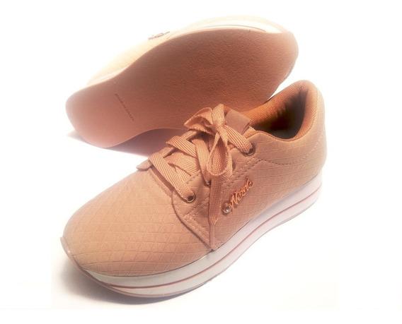 Tênis Sapato Infantil Adulto Rosa Plataforma Nesk - N° 34