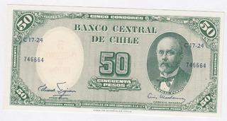 Billete Chile 50 / 5 Cts Escudos Figueroa Mackenna Unc (c85)