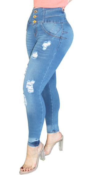 Umarah® Jeans Mujer Mezclilla Stretch Push Up Roturas Ds57