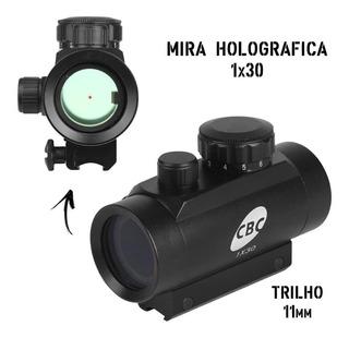 Airsoft Mira Holográfica Cbc 1x30 Ponto Vermelho Trilho 11mm