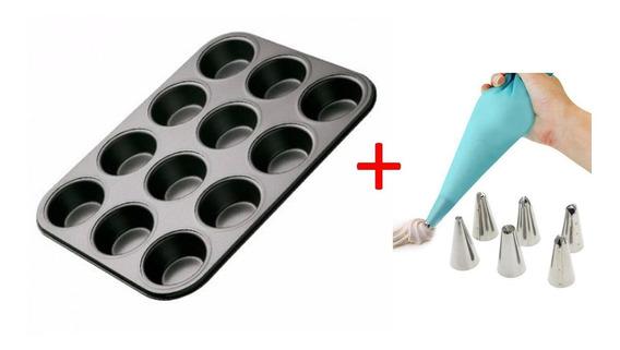 Set Molde De Muffins Teflon X12 + Manga Con Picos Reposteria
