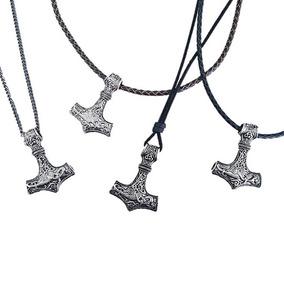 Colar Cordao Corrente Couro Masculino Amuleto Vikings