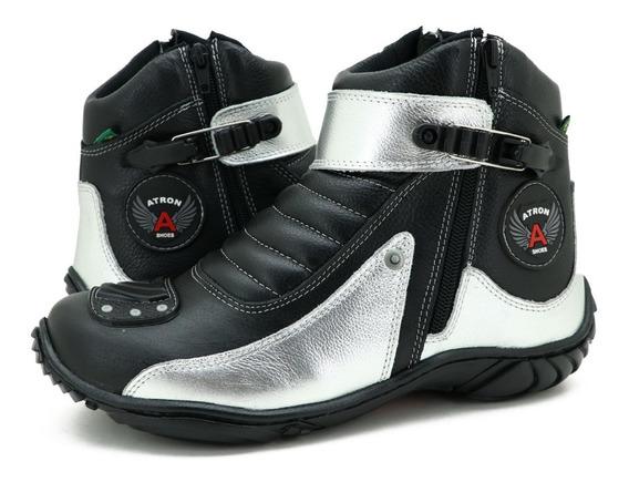 Bota Coturno Motociclista De Couro Preto Atron Shoes 271