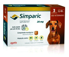 Antipulga Simparic 20 Mg 5 A 10 Kg - 3 Comprimidos - Jul/20