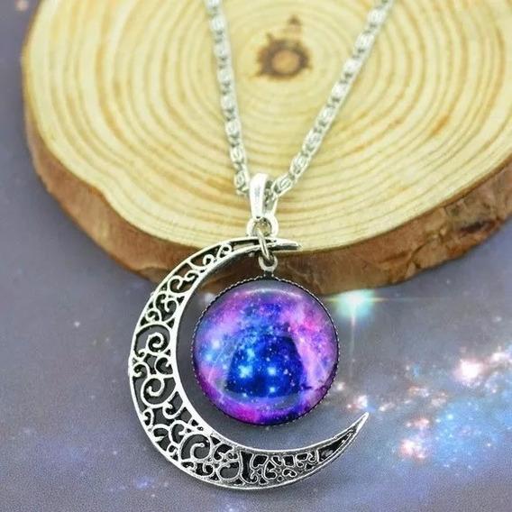 Gargantilha Colar Esoterico Universo Lua Nebulosa Galaxia 3d